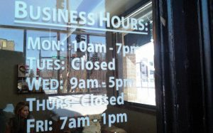 Cut Vinyl Business Hours Sticker