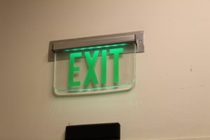 Lit Emergency Exit Sign